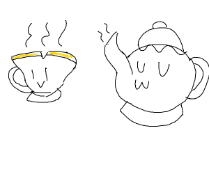 Teacup and kettle