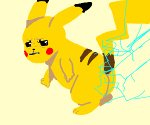 Pikachu gets zapped in the buttocks