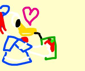 Donald Duck loves apple juice