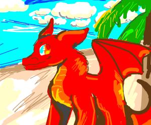 a dragon on a beach