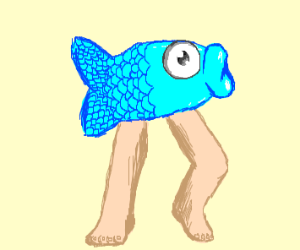 a fish with human legs