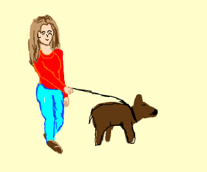 Cute girl in red sweater walks her tiny dog