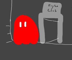 Ghost from Pacman on its way to fightclub.