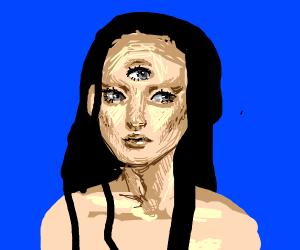 Three eyed woman with black hair