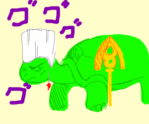Polnareff with the arrow (turtle form)