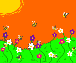 A field of flowers with bees