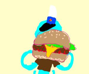 Squidward with a krabby patty
