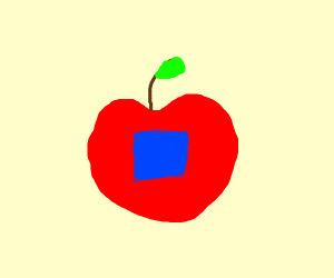 A red apple with a blue square inside