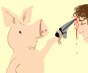 pig stabs man in forehead