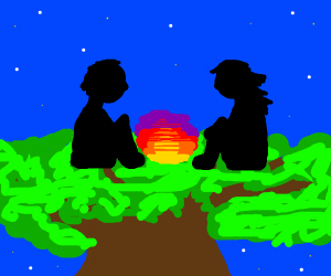 cute couple sitting on a tree with sunset