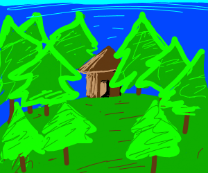 Little hut in the woods