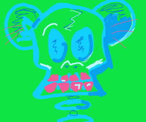 Skull monkey with pink teeth
