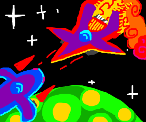 Space dogfight above an alien planet