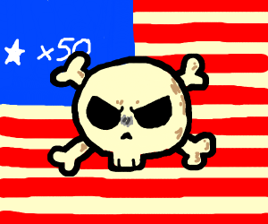 a skull and crossbones on the American flag