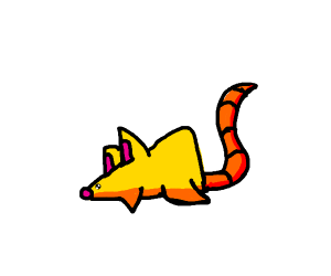 Yellow triangle mouse with cat ears