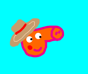 Peppa Pig character in a straw hat.