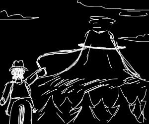 Cowboy lassoing a volcano
