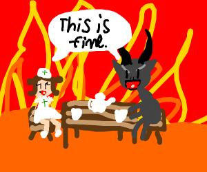Nurse having tea party with satan