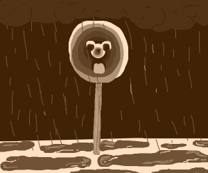 Lollipop in the rain