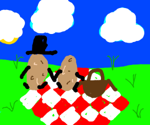 Mr and mrs potato having a date picnic