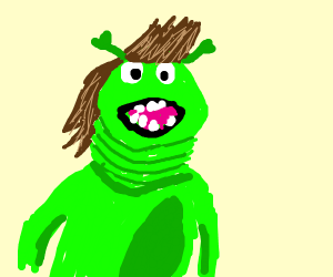 Shrek with multiple chins and beautiful hair