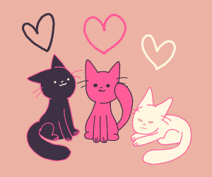 3 cats with heart halos