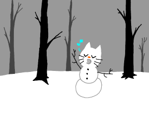 Singing cat snowman in the woods