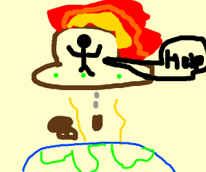 space ship with poop and fire
