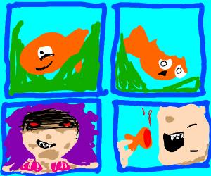 Mermaid eats a fish
