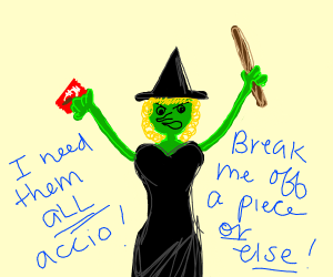 Evil witch stealing all your kit kats