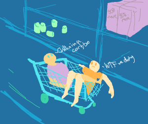 two men in a teal cart