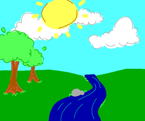 3 Clouds; 2 Trees; 1 Rock, River, and Sun