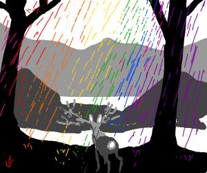 grey deer and landscape with rainbow rain