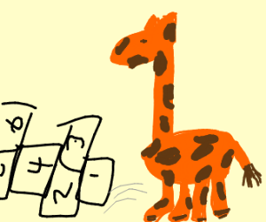Giraffe playing hopscotch