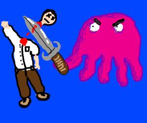 Pink jellyfish-creature slays a man