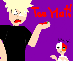 Bakugo gets angry at the peppers he ate.