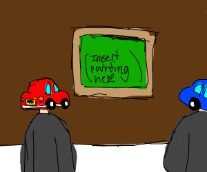 Human car looks at a painting