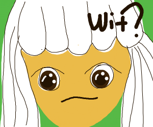 """White haired anime girl saying """"wit?"""""""