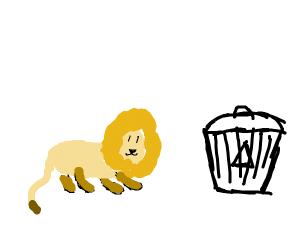 lion near a trashcan