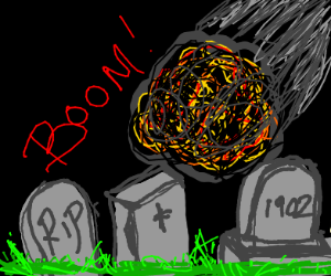 Meteor hits a cemetary