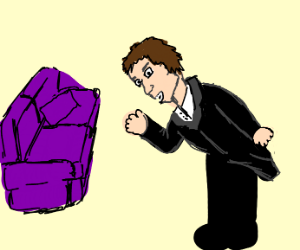 Man bows down in front of purple couch