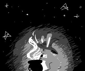 Witch rabbit stirring cauldron
