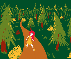 Girl with red hairs in the forest
