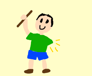 un tipo feliz con un palo y sin un brazo (idk
