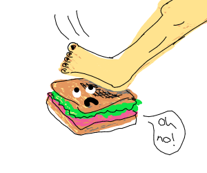 Crushing sandwich with foot