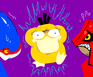 Kyogre and groudon afraid by a psyduck