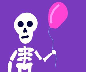 skeleton with a balloon