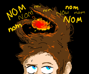 His hair likes to eat fire