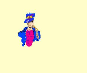 The jojo dude with blue coat