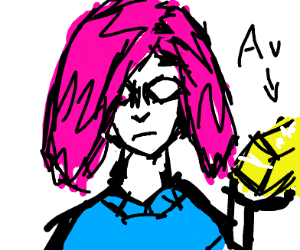 Pink haired girl with bar of gold bossu
